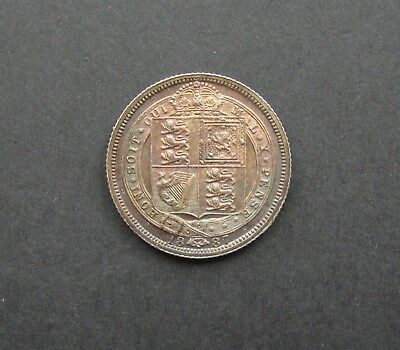Victoria 1887 Jubilee Head Silver Sixpence - Shield Reverse - Toned Unc