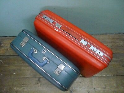 2 hard shell vintage / retro suitcases - green Crown Luggage , red Novalise