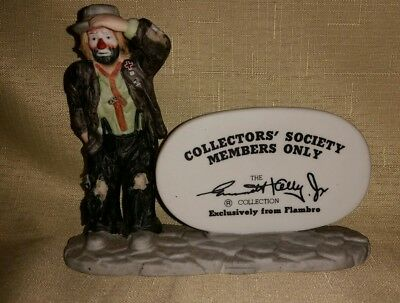 Flambro Emmett Kelly Jr Collectors Society Members Only  Figure Sign Clown New