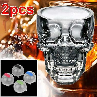 2pc Crystal Skull Head Glass Cup Vodka Cocktail Drinkware + 4x Ice Brick Mold #A