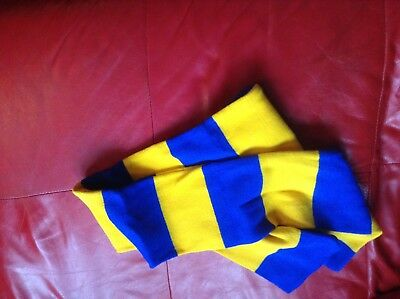 Yellow and Royal Blue traditional bar style scarf football / rugby ( new)