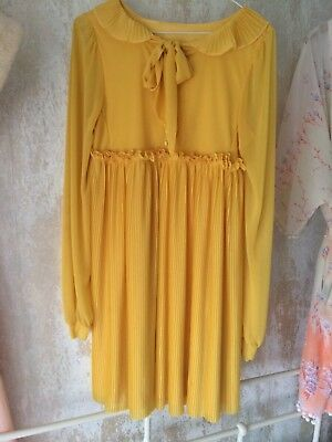 Yellow vintage 60s pleated pussy bow mad men dress size 8 to 10