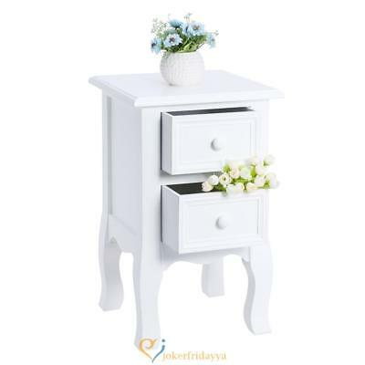 2 Drawer Shabby Chic Nightstand Bedside Cabinet Wooden Small Storage Table White