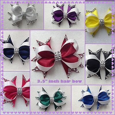 """Handmade 3.5"""" inch boutique bling hair bow clip bobble various colours"""