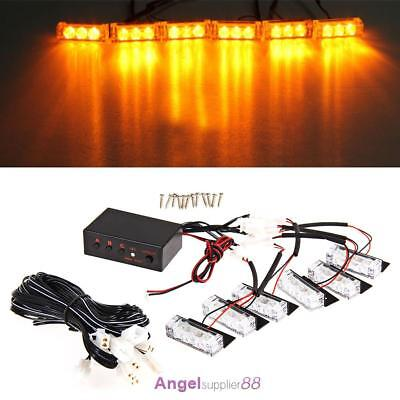 6x Car 12V Amber LED Strobe Flashing Grill Lights Bar Warning Recovery Breakdown