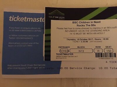BBC Children in Need Rocks the 80s Seated Tickets X 2 Next day special delivery
