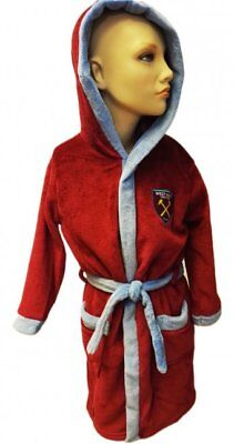 West Ham Utd Hooded Dressing Gown Bathrobe Age 3-13 Years