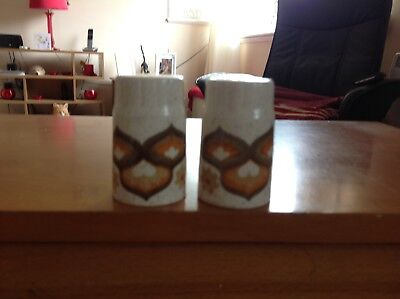Beige and brown lovely vintage/retro ceramic cruet set