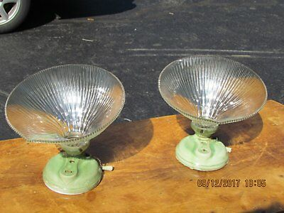 Pair of Antique Wall Sconces with Holophane Glass Shade Pat date 1912