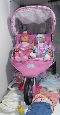 "Zapf   Baby Born   19"" girl and boy  dolls, Double buggy and Accessories"