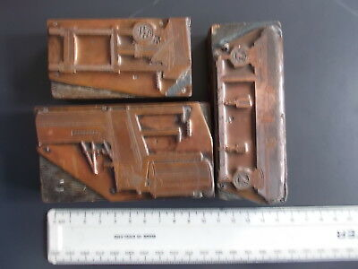 Three Antique Copper  Printing Blocks Stamps I Engineering