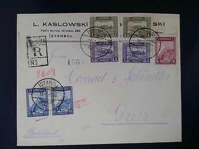SCARCE 1930 Turkey Registd Cover ties 7 stamps canc Istanbul to Greiz Germany