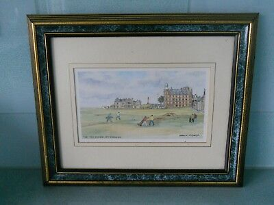 FRAMED HARRY F. McGREGOR COLOURED GOLFING PRINT - ST. ANDREWS OLD COURSE