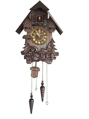Quality Hand-Carved, Traditional German Black Forest Cuckoo Clock Music Play NEW