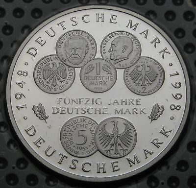 GERMANY 10 Mark 1998 A Proof - Silver - 50 Years of the Deutsche Mark