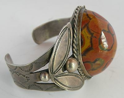 Old Fred Harvey Native American, raised petrified wood sterling large bracelet