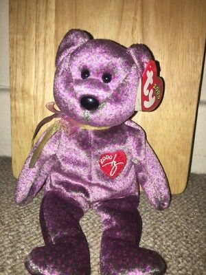 TY 2000 Signature Bear Beanie Baby (Rare & Retired) New Condition