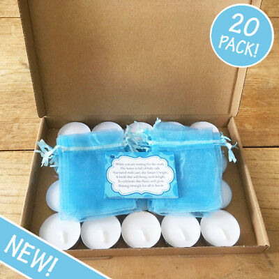20 Pack - BLUE Baby Shower Candles - Favour Gift Present