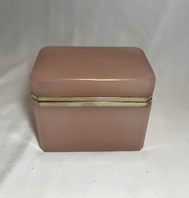 Vintage French Opaline Pink Glass Rectangle Box