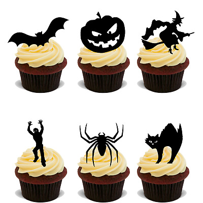 24 x HALLOWEEN EDIBLE PAPER SILHOUETTE STAND UP PARTY CUP CAKE TOPPERS RICE UPS