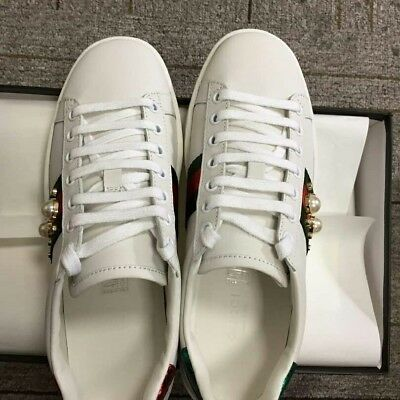 "Gucci white ""Ace"" leather low sneakers woman UK size 6 with PEARL"