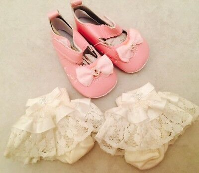 Spanish Pink Princess Diamonte NEW Frilly Socks & Bow Shoes 3-6m