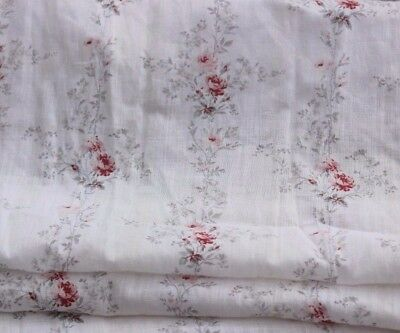 Antique French Faded Rose Cotton Batiste/Lawn Fabric Panel c1890-1900