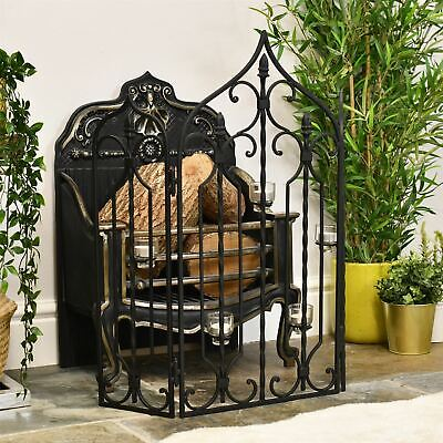 "Black Finish ""The Waterford"" Fire Screen & Fire Guard"