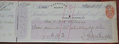 London & County Banking Compy Ltd. Deptford branch used cheque dated 1882