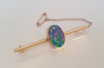 9ct yellow gold opal doublet brooch 4.24g