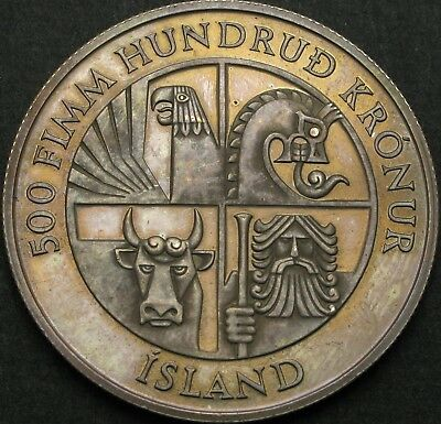 ICELAND 500 Kronur 1974 Proof - Silver - First Settlement - 736 ¤
