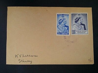 VERY RARE 1952 Falkland Is Dep. Cover ties 2 x 25th Royal Wedding Anniv stamps