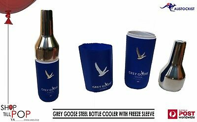 Grey Goose Vodka Steel & Rubber Bottle Holder/Cooler with Freezer Sleeve BNWT