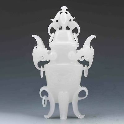 Exquisite Chinese Natural White Jade Skillfully Carved  Incense Burner & Lid