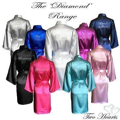 HIGH QUALITY Satin Diamante Wedding Bridal Party Robes Gown Bride Bridesmaid