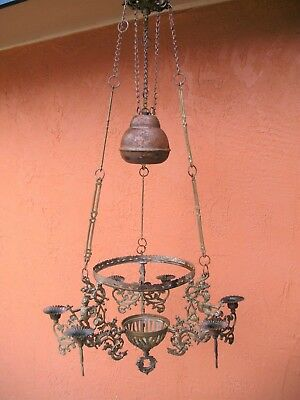 Vintage French Baroque Figural Brass Rise & Fall Oil Lamp Candelabra Chandelier