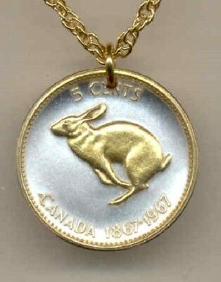 Canada 5 Cent Rabbit Coin Pendant Gold on Silver Collector Gift w/ Box