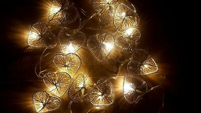 Christmas Party WIRE HEART String Lights BATTERY POWER 16 LED WARM WHITE 2.45M