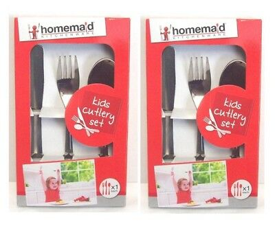 2 x 3 Piece Childrens Kids Stainless Steel Dinner Cutlery Set Knife Fork Spoon