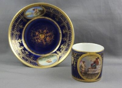 Royal Vienna Style Hand Painted Antique Miniature Cup & Saucer Beehive Mark #A