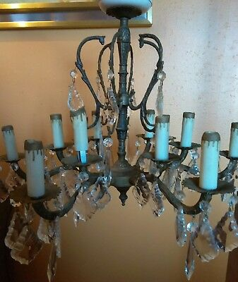 vintage 12 candle brass crystal large chandelier