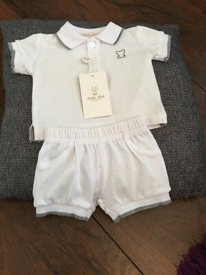 Spanish Style baby boys 0-2 months white two-piece outfit by Little Kids