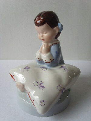 "Vintage ROYAL DUX Czechoslovakia PRAYING GIRL Child FIGURINE Old 12 cm 4.5"" high"