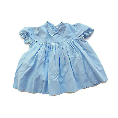 Vintage Baby Dress Blue Mid Century Infant Toddler 9 - 12 - 18 Months