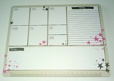 Kraft Stars WEEKLY PLANNER DESK PAD To Do Notes RULER 50 Sheets 22x17cm PINK BLK