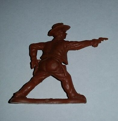 Cereal toy c1959 Cowboy, Standing with Pistol out, dark brown, Wild West series