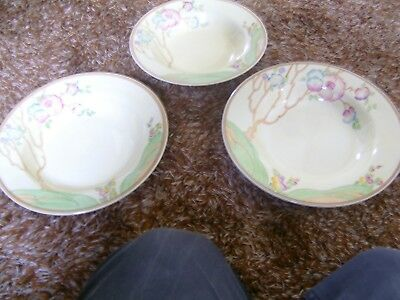clarice cliff 3 soup plates chippendale pattern