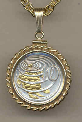 Cayman Islands 10 Cent Coin Gold on Silver  Sea Turtle Pendant w/ Edgy Necklace