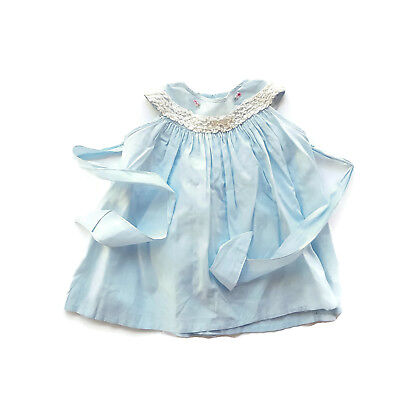 Vintage Nanette Baby Dress Blue Lace Roses Sash Mid Century Infant Toddler 12 M