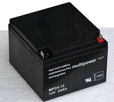 Multipower Akku 12 V 24 Ah Mp24-12 High End Battery For Ups Usv Roller Babycar